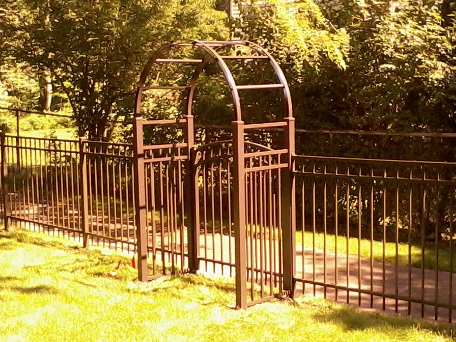 Bronze aluminum fence with arbor cardinal fence supply for Fence with arbor