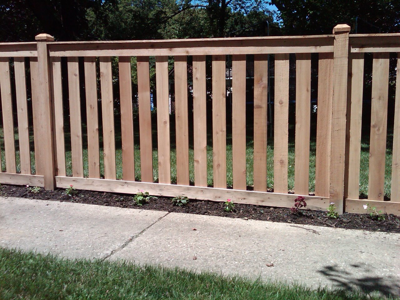 4 Spaced Traditional Outside View Cedar Fence Cardinal
