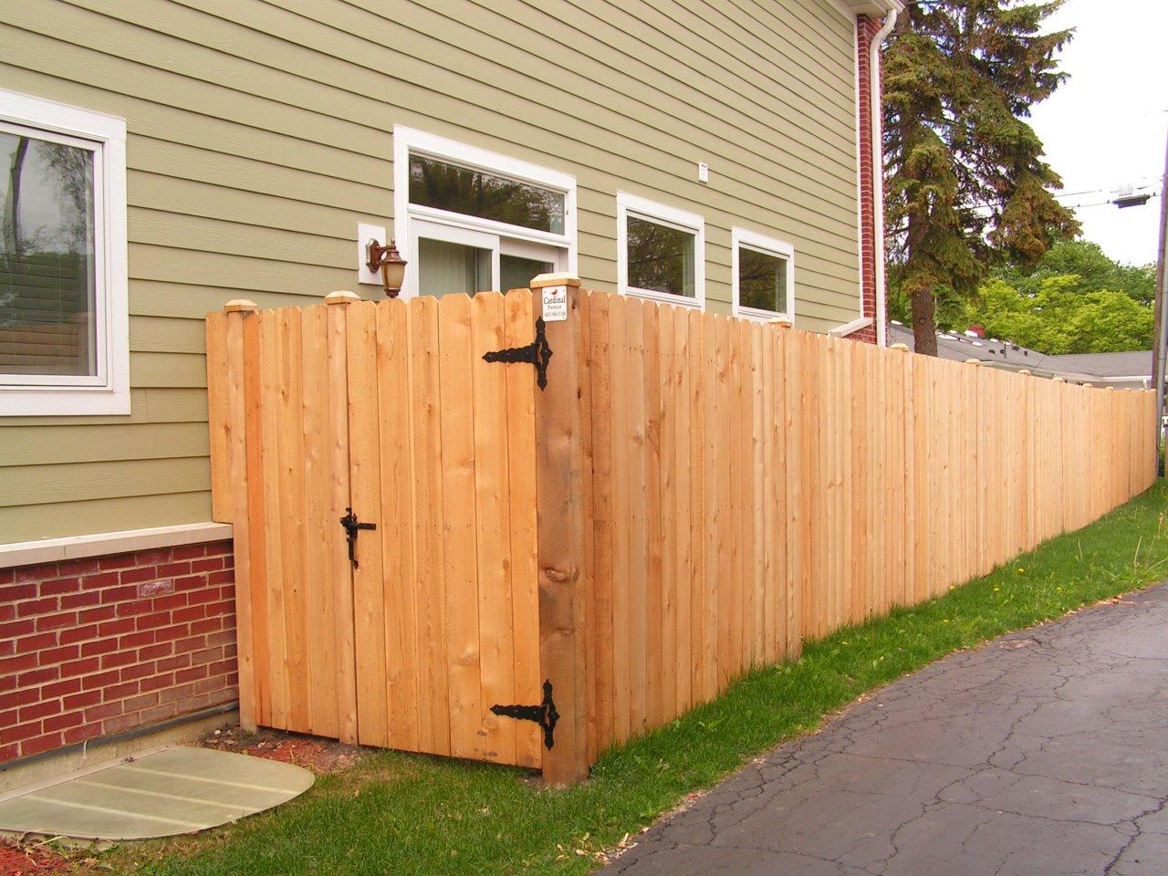 6' Solid Dog Ear, Continuos Board Construction Cedar Fence